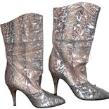 90's Silver Printed Custom Made Leather Boots