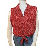 90's Red Bandana Print Cowgirl Button Up Tank Top