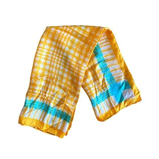 60's Yellow Teal Plaid Silk Square Scarf by Echo