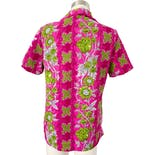 another view of 70's Pink and Green Floral Print Short Sleeve Blouse by Pykettes