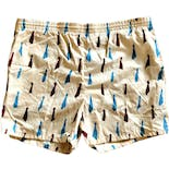 80's Tie Print Swim Trunks by Pacific Scene
