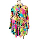 90's Colorful Baroque Rayon Print Jacket Blouse with Pockets by Gitano