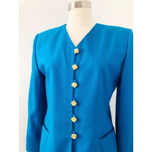 90's Cerulean Blue Blazer by Casual Corner Petites