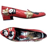 another view of 80's Panda Themed Red Leather Kitten Heels by Margaret J