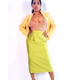 90's Lime Silk Midi Skirt by Lily & Taylor
