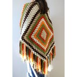 another view of Fringe Shawl Granny Square Cape Shawl