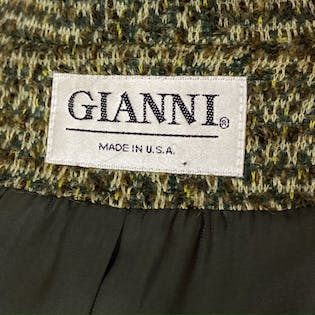 80's Mohair Shadow Plaid Structured Jacket by Gianni