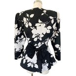 another view of 80's Black and White Floral Print Peplum Jacket with Bow by Samantha Black Made In Usa