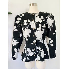 80's Black and White Floral Print Peplum Jacket with Bow by Samantha Black Made In Usa
