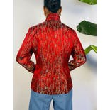 another view of Red Embroidered Knot Button Up Jacket