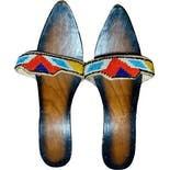 30's/40's Beaded Wooden Slides Sandals