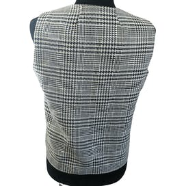 70's Houndstooth Vest with Metal Chain Buttons by Sears Roebuck