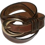 Dark Brown Leather Equestrian Belt with Gold Buckle by Joan & David