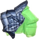 60's/70's Two Pack Scarf Mod Scarves Bright Green Chiffon and Square Blue Geometric