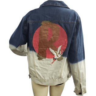 Two Tone Bleached Denim Jacket with Applique by Ino-Ochi