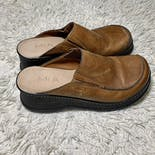 another view of Mia 90's Platform Chunky Tan Leather Mules by Mia