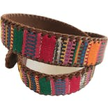 another view of Woven Southwestern Brightly Colored Brown Leather Belt