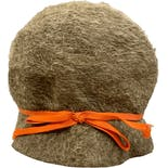 60's Tan Mohair Burcket Hat with Orange Accent by Leslie James