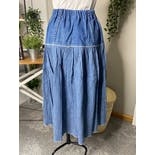 another view of Denim Prairie Style Midi Skirt by Gepetto
