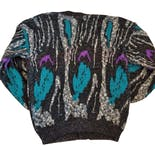 another view of 80's Men's Gray Coogi Style Cardigan by Sweater Graphix