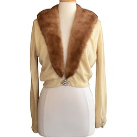 50's Cashmere Cardigan Sweater with Mink Fur Collar and Jeweled Clasp by Hadley Cashmere