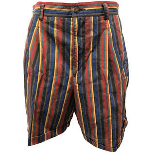 90's Multicolor Vertical Stripe High Waisted Shorts by Lizsport