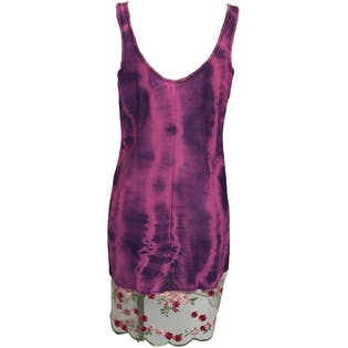 Pink and Purple Tie Dye Floral Trimmed Slip Dress