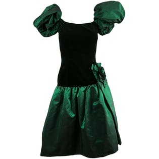 80's Green Velvet Puffy Sleeve Dress by Victor Costa
