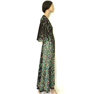 70'sBlack Floral Maxi Dress by Albertino