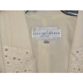 80's Ivory Beaded Tuxedo Jacket by Nolan Miller / Lillie Rubin