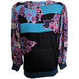 another view of Knit Sweater with Sheer Sleeves and Abstract Floral Print