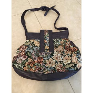 70's Leather Tapestry Floral Purse by Pierre Michael