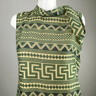 60's Green Abstract Neck Tie Sleeveless Dress by Sid Greene