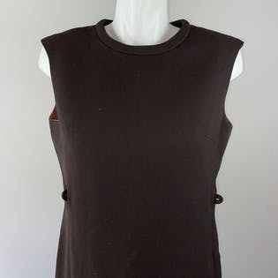 70's Brown Wool Shift Dress