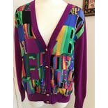 another view of 80's Silk Wool Cardigan Italy