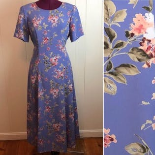 80's/90's Dusty Purple Floral Maxi Dress