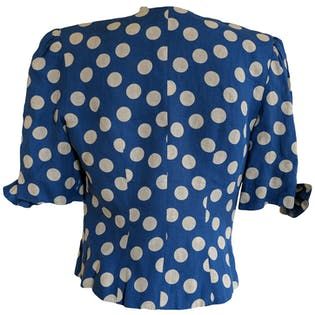 Blue Double Breasted Polka Dot Blouse with Shoulder Pads by Albert Nipon