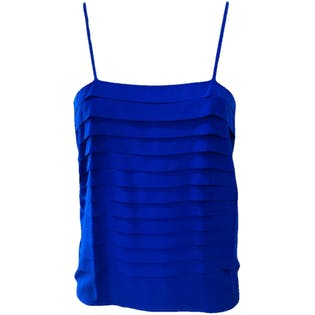 80's Royal Blue Silk Cami Top by Royal Silk