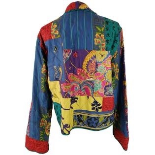 Patched Multicolor Jacket with Collar