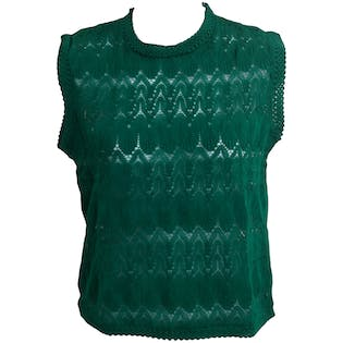 60's Lattice Knit Green Tank Top by Debbie Leigh