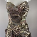 another view of 80's Pink Ombre Metallic Lamé Strapless Dress by Gunne Sax