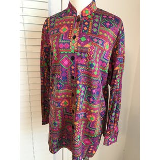 70's Abstract Blouse by Jaeger
