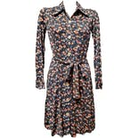70's Floral Button Up Long Sleeve Dress by Young Edwardian