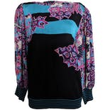 Knit Sweater with Sheer Sleeves and Abstract Floral Print