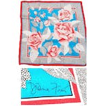 Signed Deadstock Vintage Roses Silk Scarf by Diane Freis