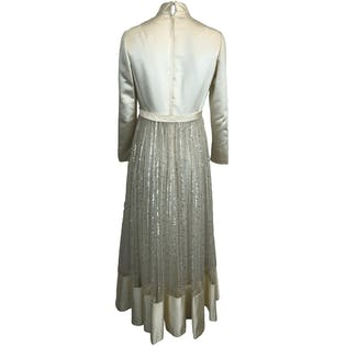 50's Long Sleeve Sequin Bow Gown by Victorian Royal Ltd.