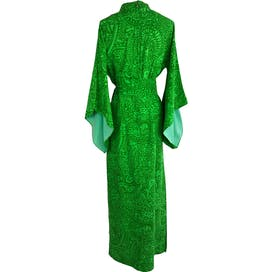 60's Emerald and Lime Green Belted Kimono Maxi Dress by Sun Fashion Of Hawaii Honolulu