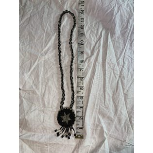Black Beaded Star Necklace