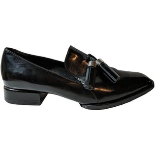 Shiny Black Loafers with Fringe Tassles by Alexander Wang