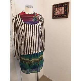 70's Striped Batik Silk Blouse